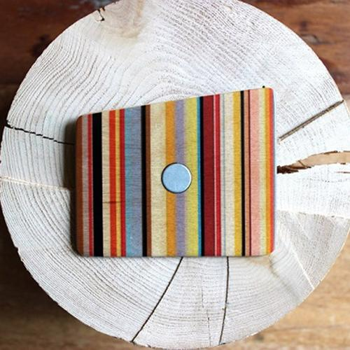 Wooden Pocket Square | Funky Stripes