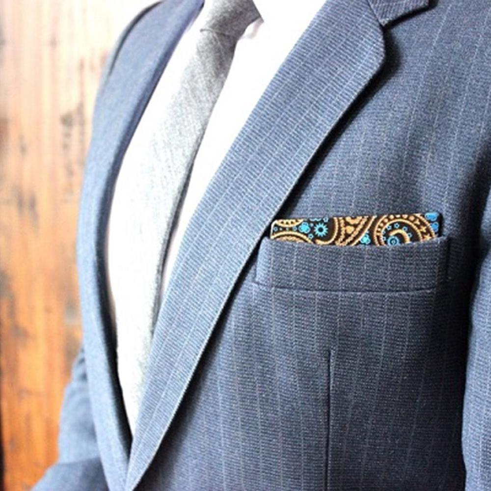 Wooden Pocket Square   Engraved Paisley   Baffi   Royal Blue