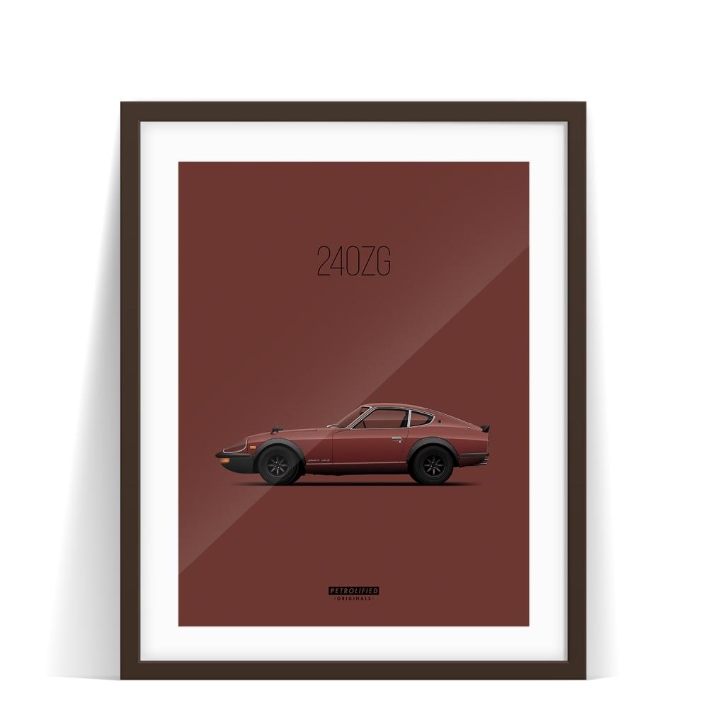 car prints, datsun 240zg, luxury car art