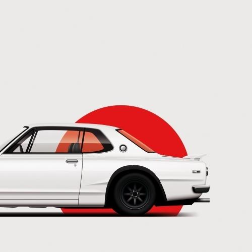car prints, Nissan Skyline GT-R, luxury car art