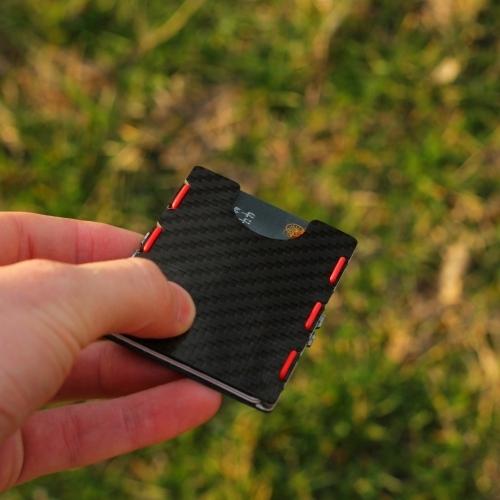 RIFD Carbon Fiber Wallet - Red, Slimtech
