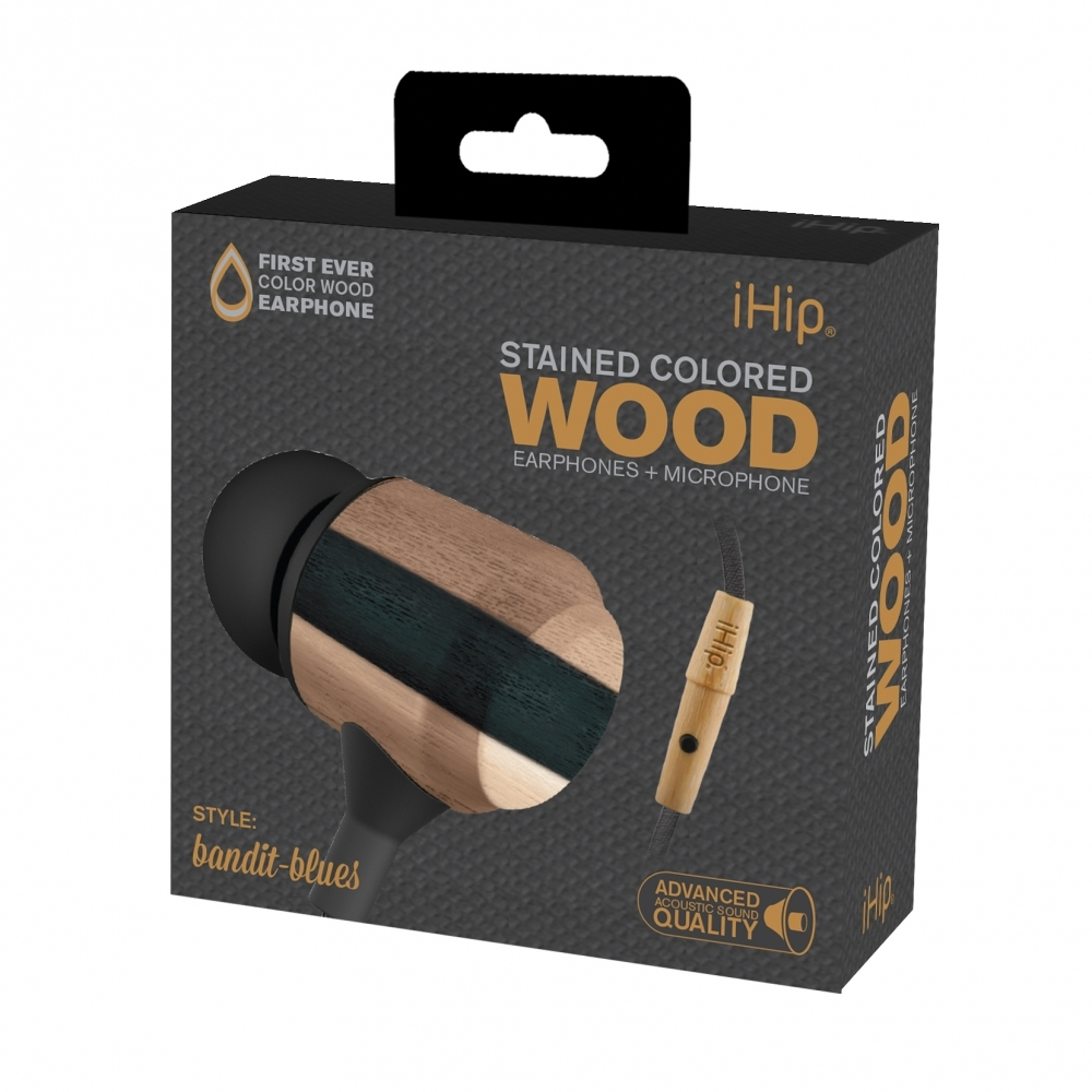 Bandit Blues Wood Earphone, iHip