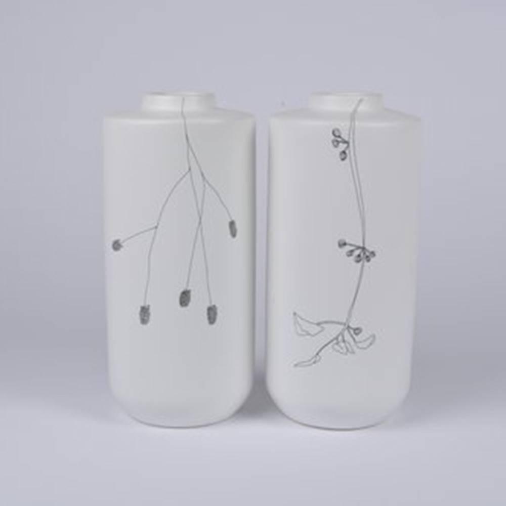 Flor Vase, Set of 2 - Floral Ceramic Vase by Dutch Ceramicist Elke van den Berg