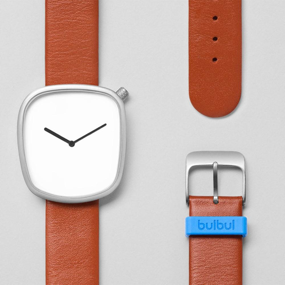Pebble 03 - Steel Brown Leather Strap Watch