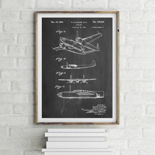 Howard Hughes Airplane Patent Print