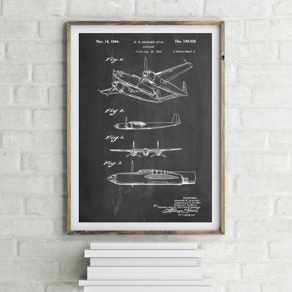 Howard Hughes Airplane Patent Print - Patent Prints