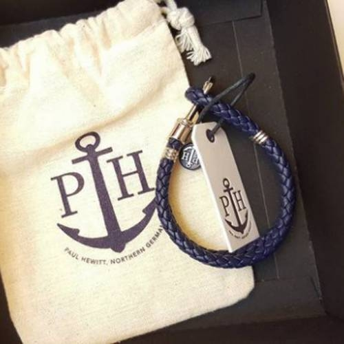 PHREP Leather Bracelet, Navy - Paul Hewitt