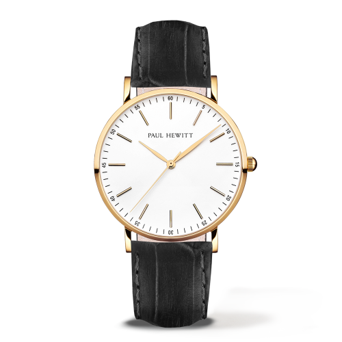 Gold Line Leather Watch, Black