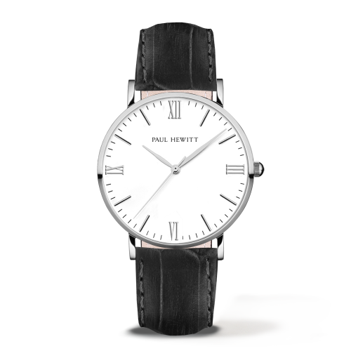 Silver Line Leather Watch, Black
