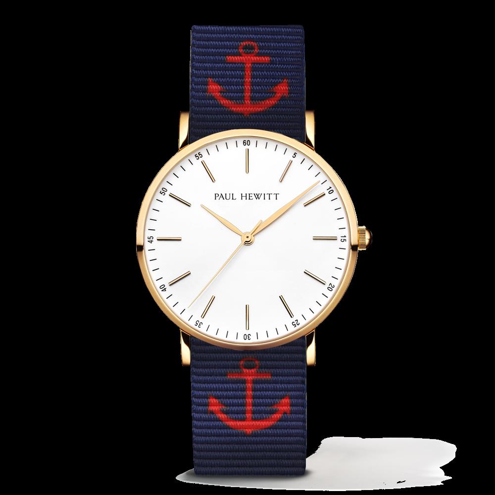 Gold Line Anchor Watch, Navy Blue/Red - Paul Hewitt
