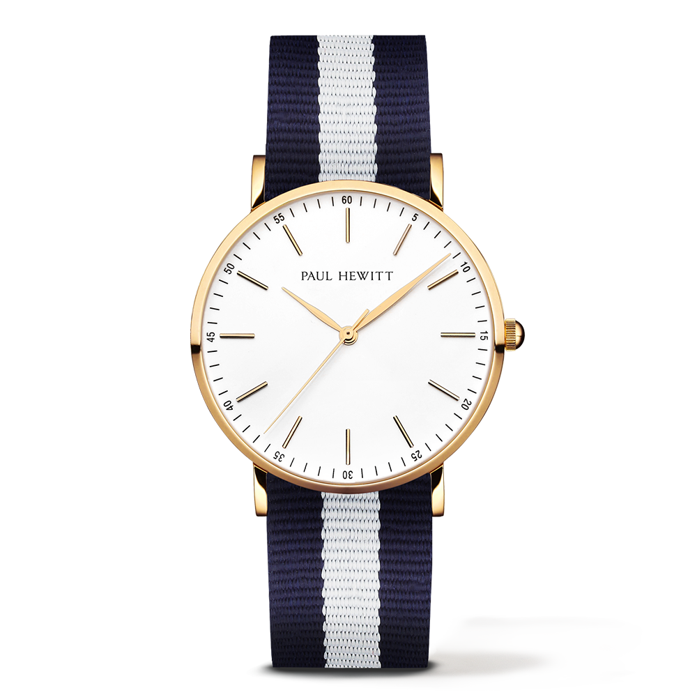 Gold Line Watch, Navy Blue/White - Paul Hewitt