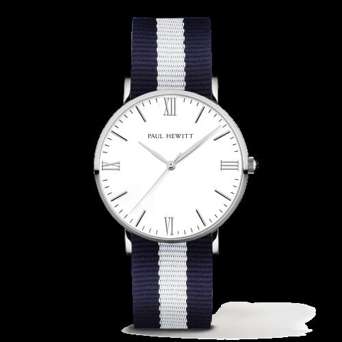 Silver Line Watch, Navy/White