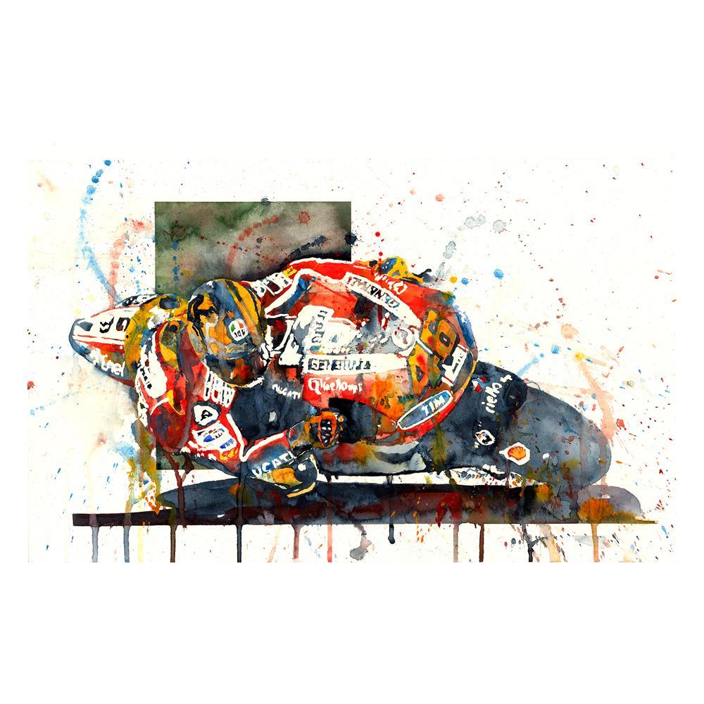 Valentino Rossi MotoGP Watercolor Print | By Artist Bilbeisi