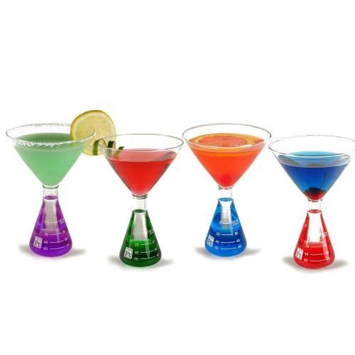 Martini Glasses, Colored Water