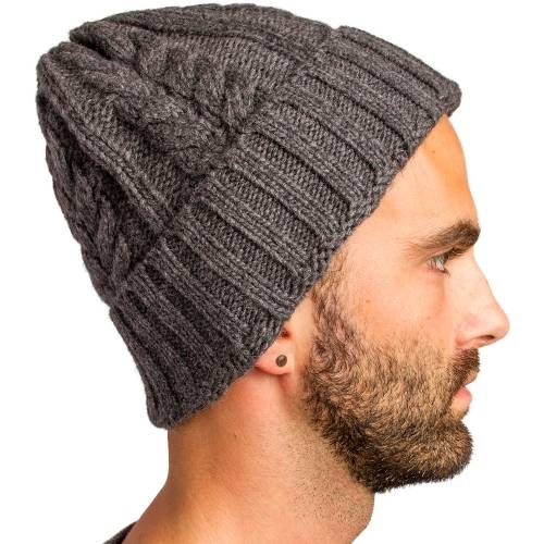 Cable Knitted Beanie, Charcoal