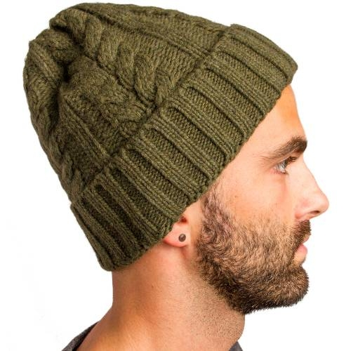 Cable Knitted Beanie, Olive