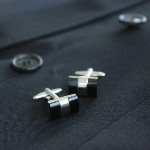 Black & Silver Cufflink - FlipMyTie