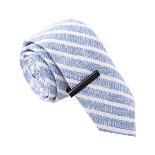 Blue & White Striped w/ Tie Clip