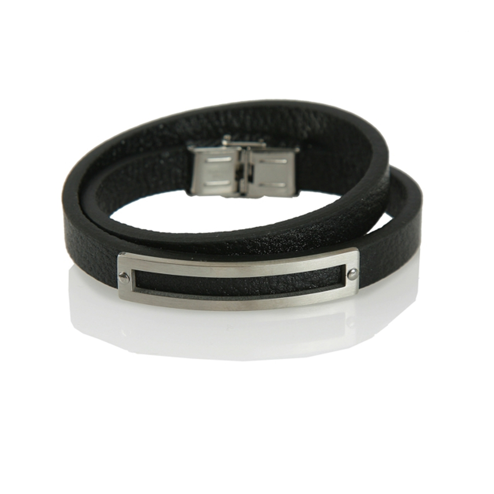 Black and Silver Ordu Leather Bracelet - Buttigo