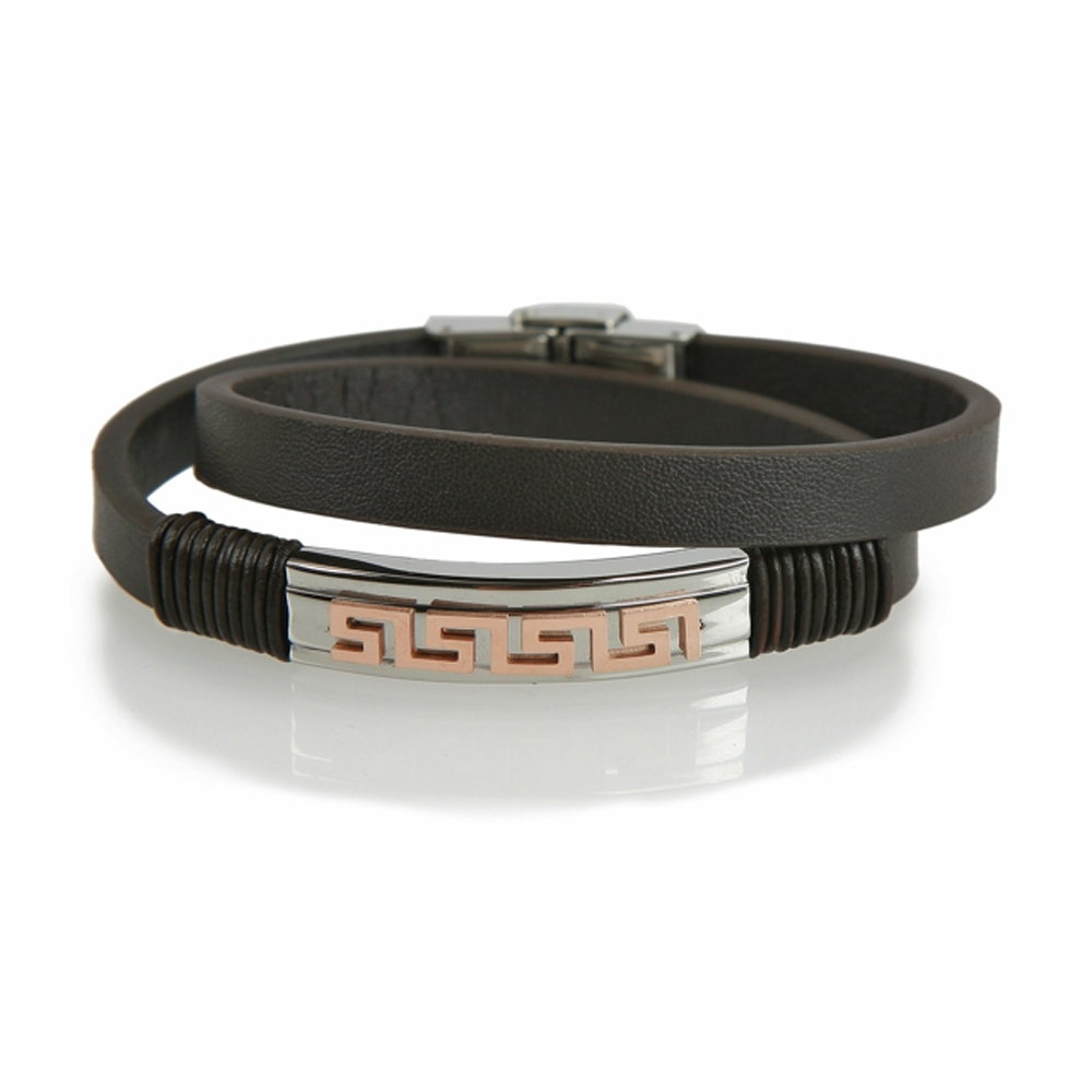 Black and Rose Derince Woven Leather Bracelet - Buttigo