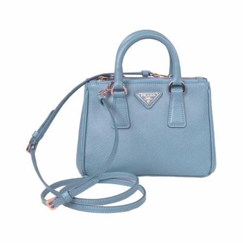 Mini Light Blue Saffiano Leather Tote