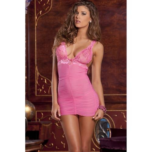 2PC Rouched mesh & lace chemise & G-string set