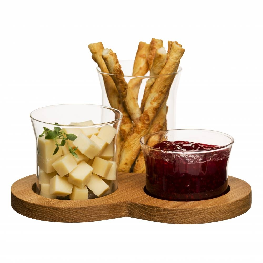 3 Glass Serving Bowls | Oak Board | Dips/Crudites | Sagaform