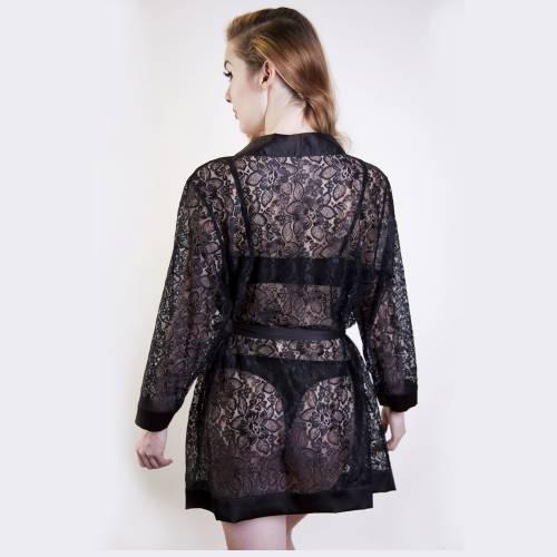 Playful Promises   Scarlett Black Lace Robe