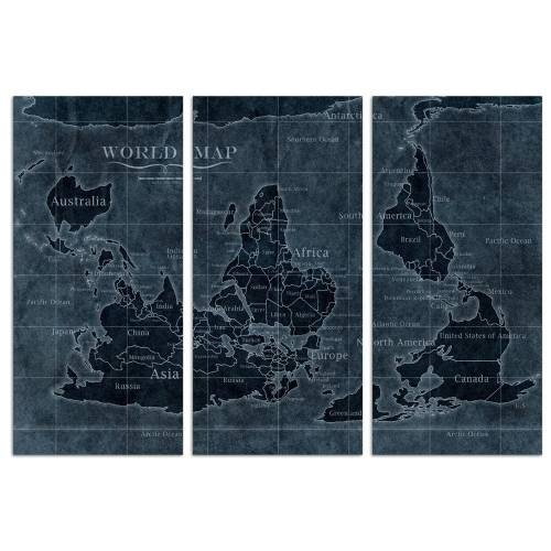 Upside-down Map of the World Noir Triptych | Canvas Art