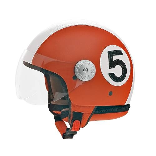 Orange Leather Helmet |
