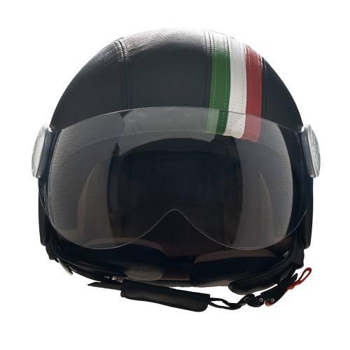 Black Leather Helmet   Italian Band