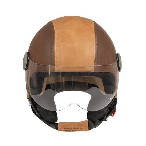 Leather Helmet   Grey Bicolor