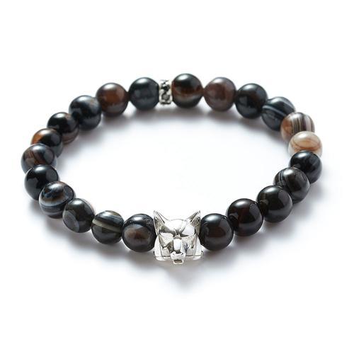 Agate | Silver Wolf Bracelet