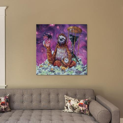 Time Master Poop Sloth by Black Ink Art Canvas Print