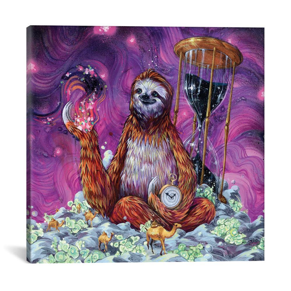 Time Master Poop Sloth by Black Ink Art Canvas Print