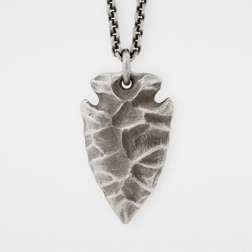 Arrowhead Pendant | Silver & Leather