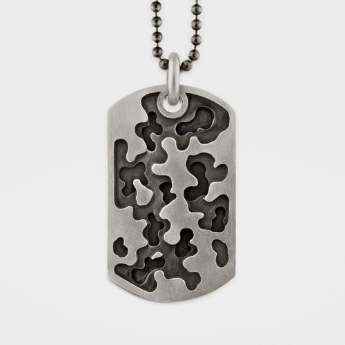 Camouflage Dog Tag   Sterling Silver