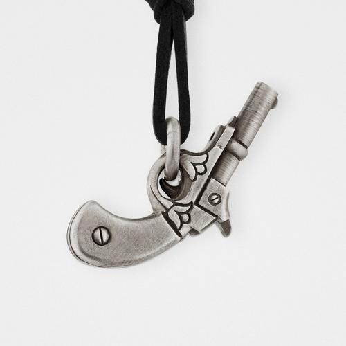 Gun Pendant | Sterling Silver & Leather