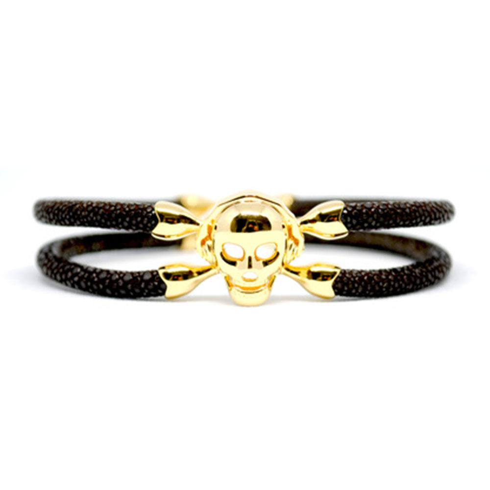 Skull Bracelet | Brown with Gold Skull | Double Bone