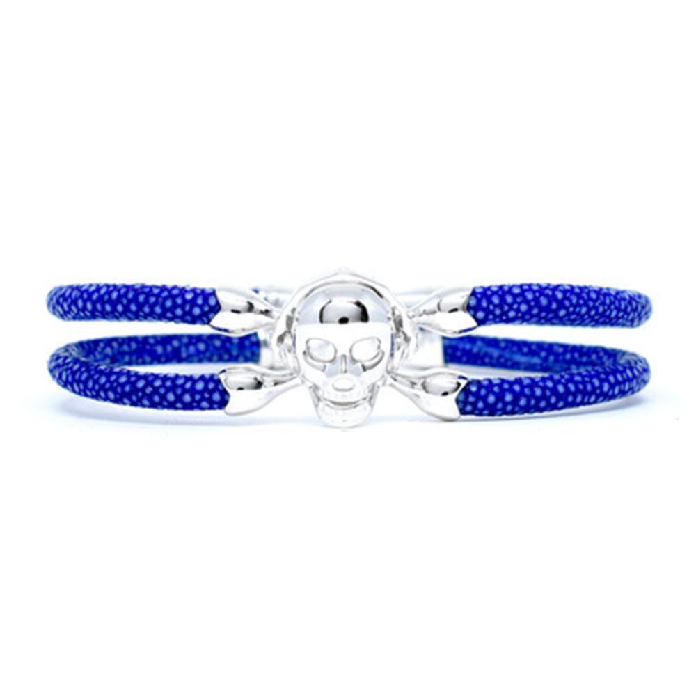 Skull Bracelet | Blue with Silver Skull | Double Bone