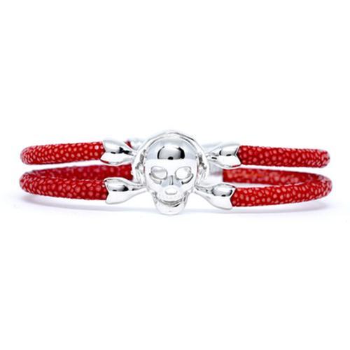 Bracelet | Single Skull | Red/Silver