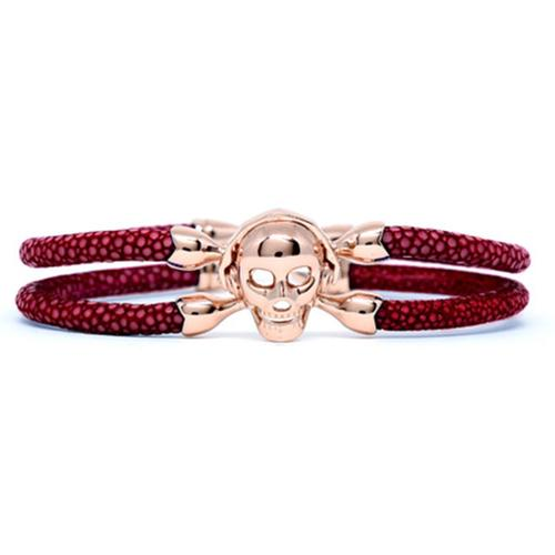 Bracelet | Single Skull | Red Wine/Silver