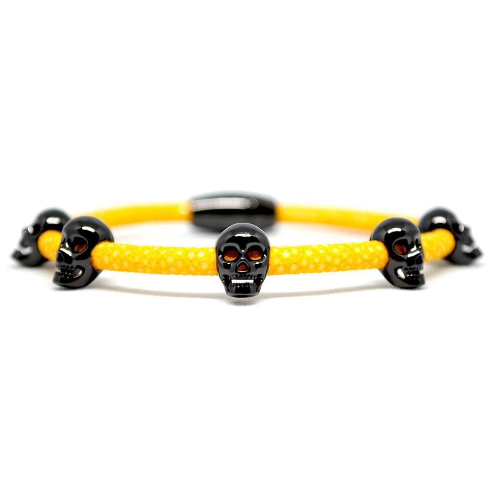 Skull Bracelet   Yellow with Black Skulls   Double Bone