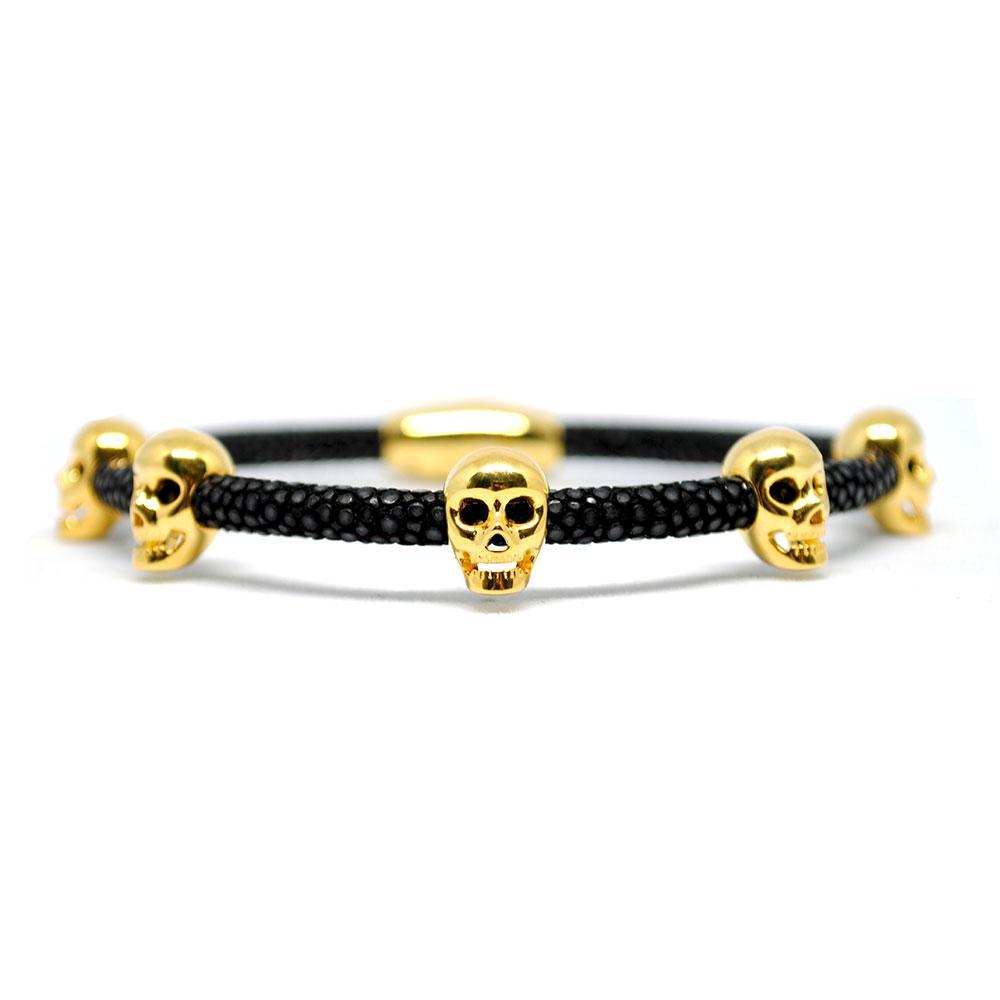 Skull Bracelet   Black with Gold Skulls   Double Bone