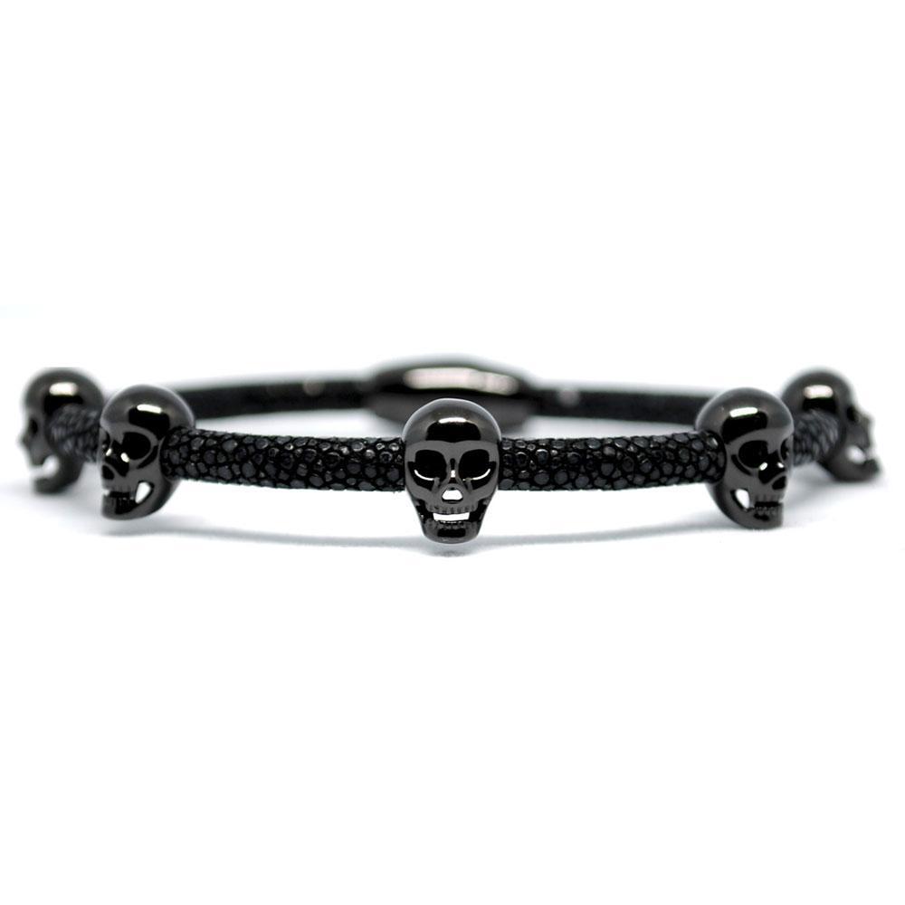 Skull Bracelet   Black with Black Skulls   Double Bone