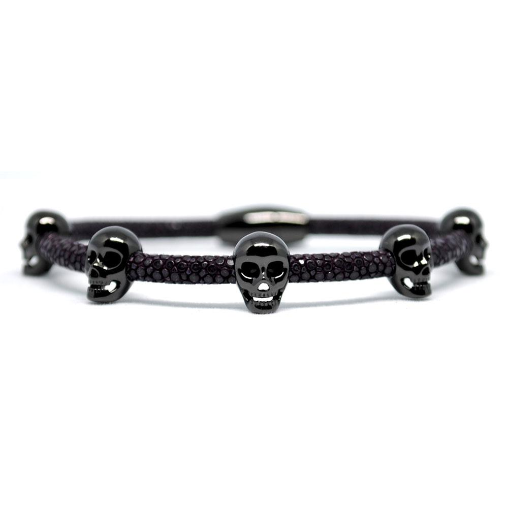 Skull Bracelet   Purple with Black Skulls   Double Bone