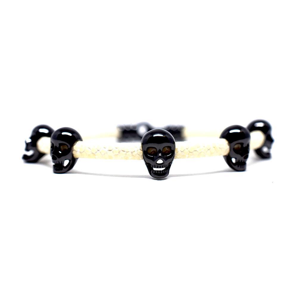 Skull Bracelet | White with Black Skulls | Double Bone