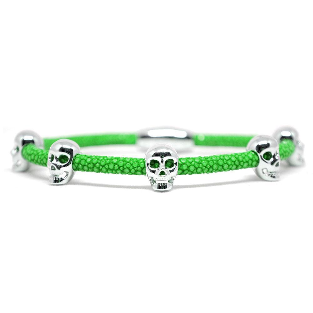 Skull Bracelet   Green with Silver Skulls   Double Bone