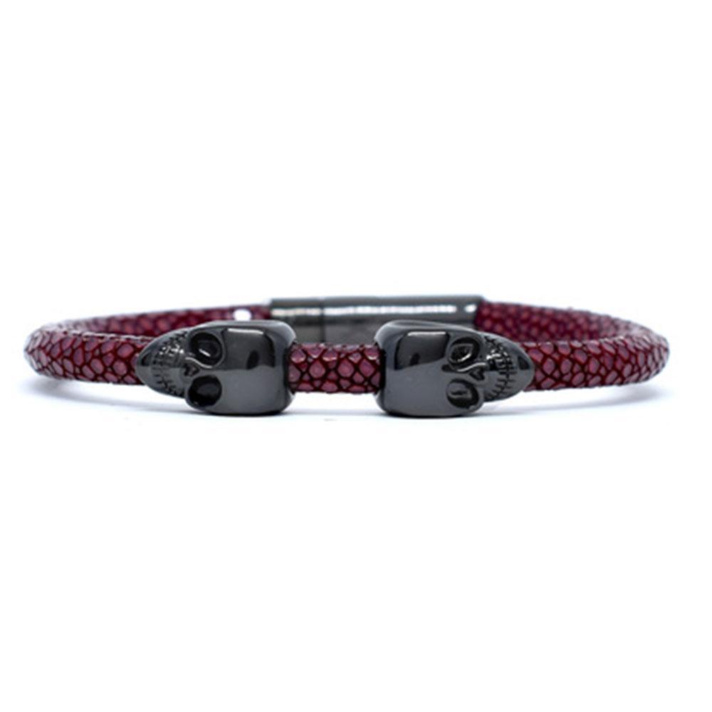Skull Bracelet | Red Wine | 2 Black Skulls | Double Bone