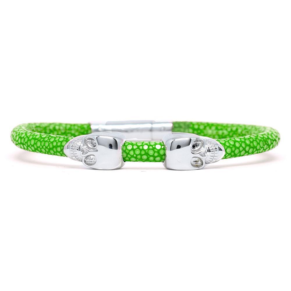 Skull Bracelet | Green | 2 Silver Skulls | Double Bone